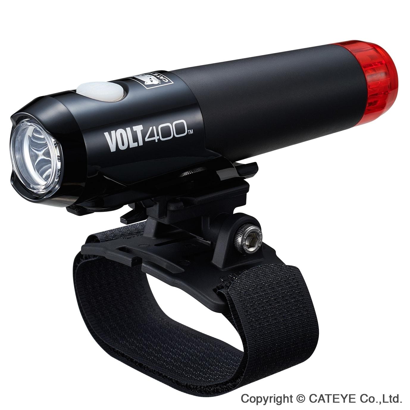 Hjelmlygte Cateye Volt400 DUPLEX for og baglygte i én - HL-EL462RC-H