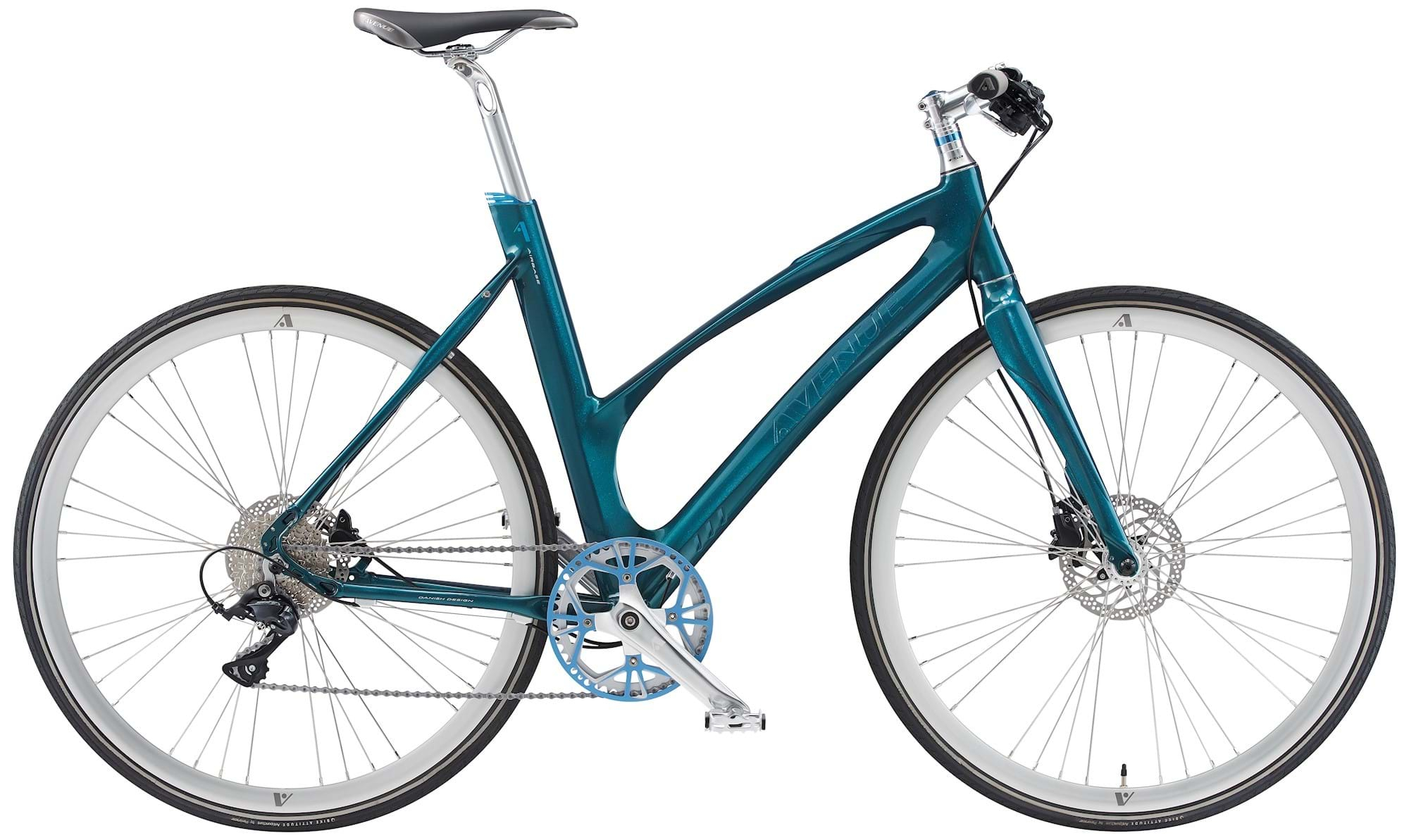 Image of Avenue Airbase Dame 9 Gear Skivebremse Blue Green Shiny - 2019