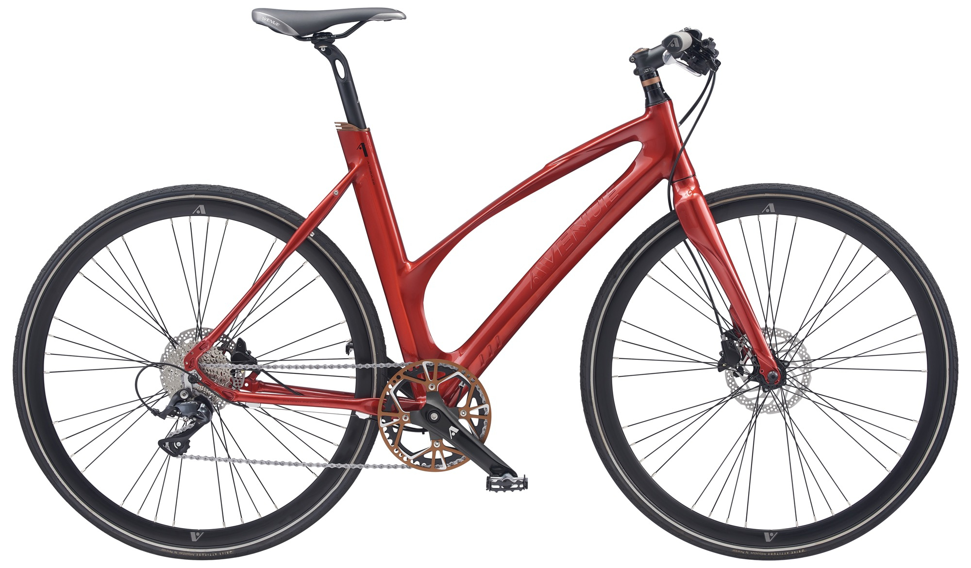 Pedalatleten Avenue Airbase Lady. 9 Speed Sora Hydr. Disc Shiny Red Rosa - 53Cm Cykler  Avenue Cykler