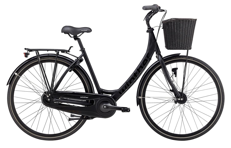 Winther Black 4 Dame 7 Gear 50Cm - Sandblæst Sort 2018 Cykler||Winther Cykler