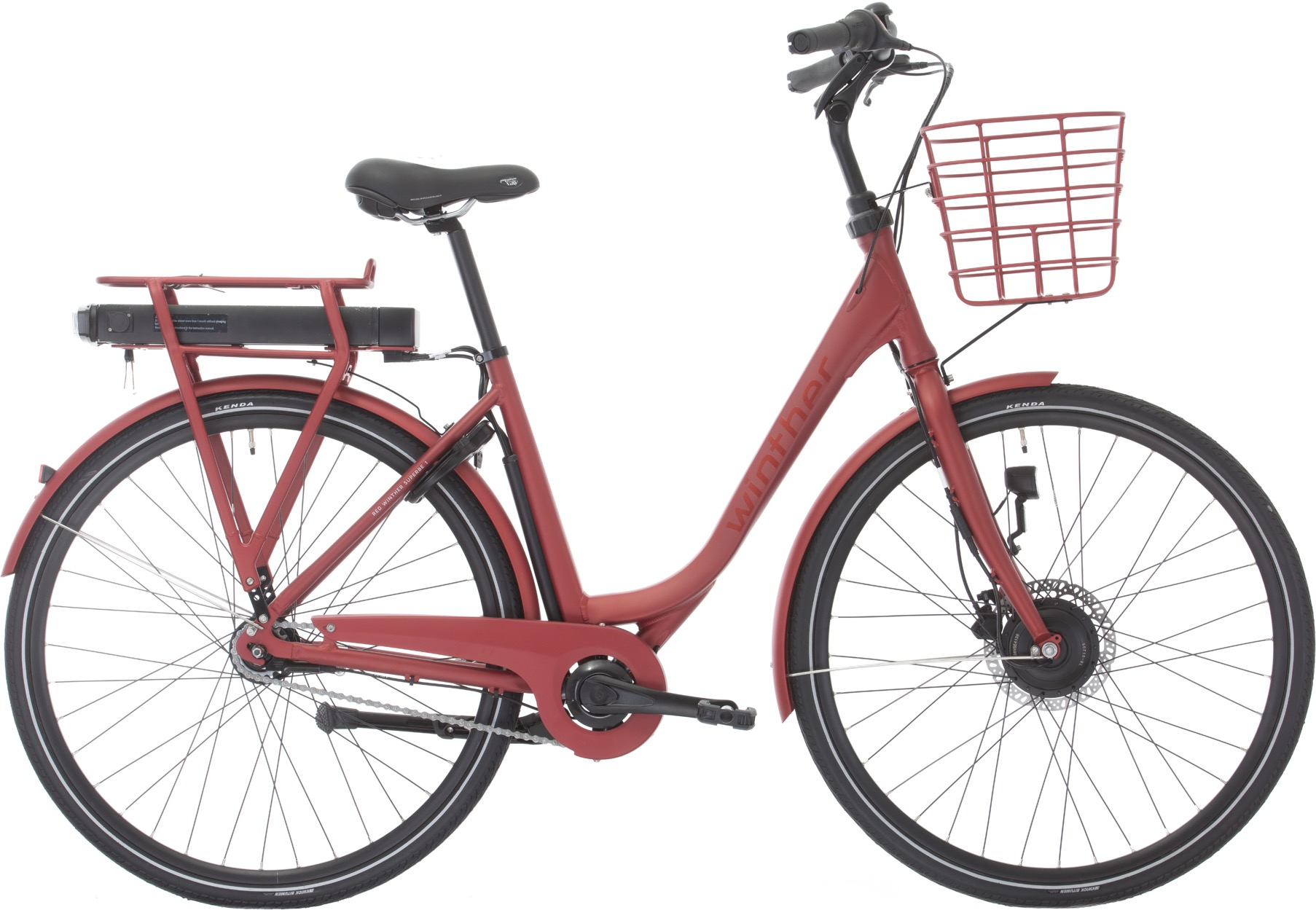 Image of Winther Red Superbe 1 Dame Elcykel Matrød 48cm - 2020