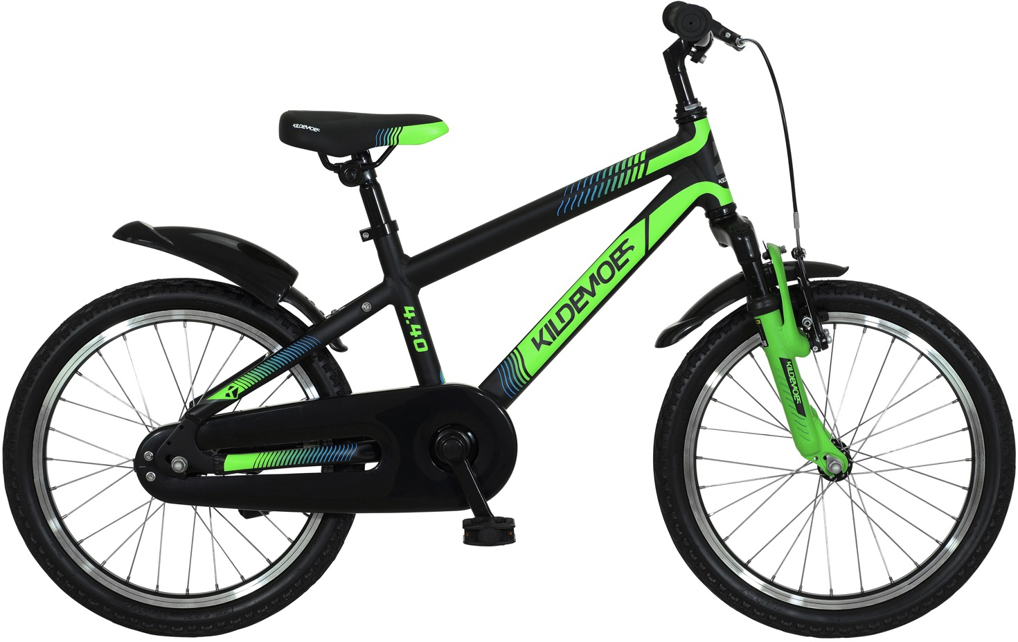 "Kildemoes Bikerz Dreng 16"" Soft Black W. Green - 2020"